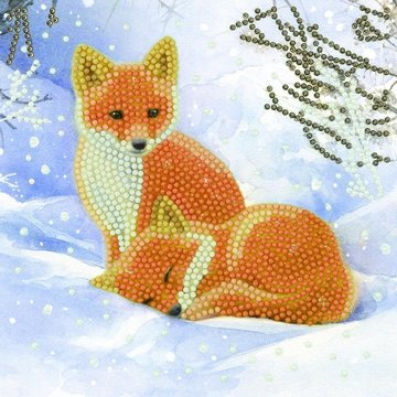 Christmas Crystal Card kit diamond painting Snowy Fox Cubs Vosjes 18 x 18 cm
