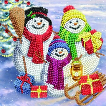Christmas Crystal Card kit diamond painting Snowman Family Fun 18 x 18 cm