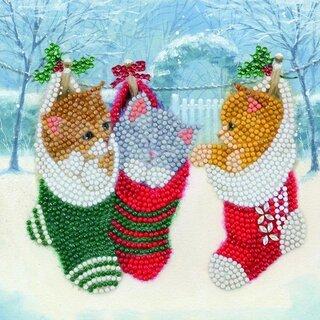 Christmas Crystal Card kit diamond painting Christmas Kittens 18 x 18 cm