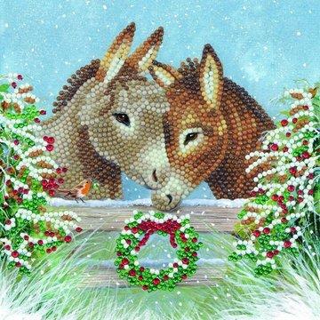Christmas Crystal Card kit diamond painting Donkey Love Christmas 18 x 18 cm