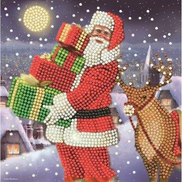 Christmas Crystal Card kit diamond painting Santa's gifts Kerstman 18 x 18 cm