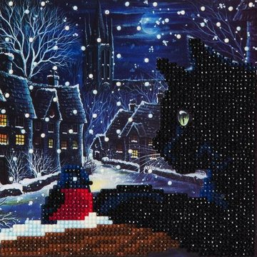 Christmas Crystal Card kit diamond painting Curious Cat 18 x 18 cm