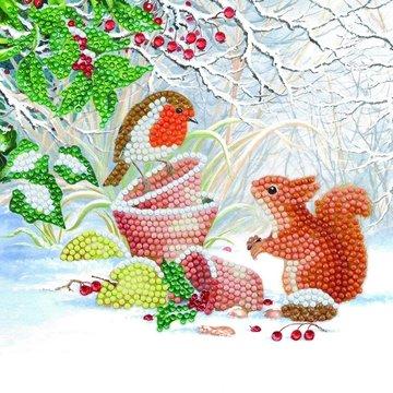 Christmas Crystal Card kit diamond painting Winter Friends  (partial) 18 x 18 cm