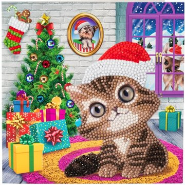 Christmas Crystal Card kit diamond painting Cozy Kitty. Animal Club (partial) 18 x 18 cm