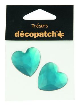 Trésors Strass stenen blauw hart 3 cm