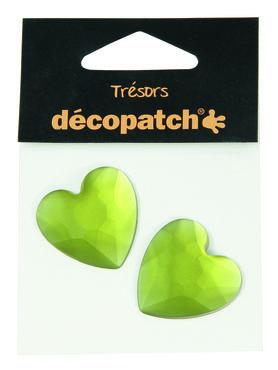 Trésors Strass stenen groen hart 3 cm