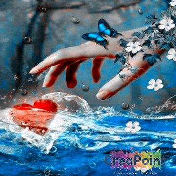 Full 5D Diamond Painting Hand pakt hart 30 x 30 cm