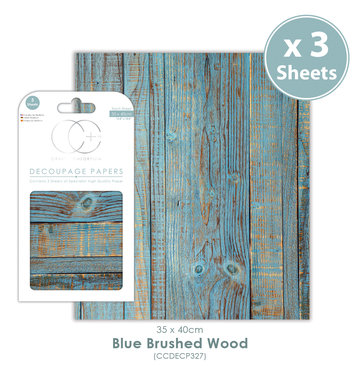 Decoupage papier Blue Brushed Wood - Craft Consortium