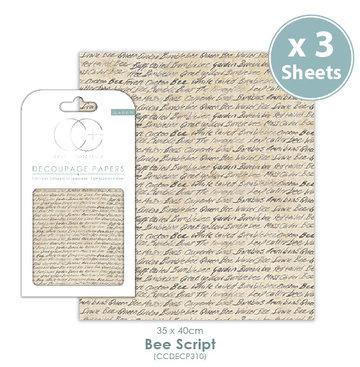 Decoupage papier Bee Script- Craft Consortium