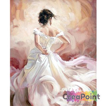 Schilderen op nummer Dame in jurk 40 x 50 cm zonder frame
