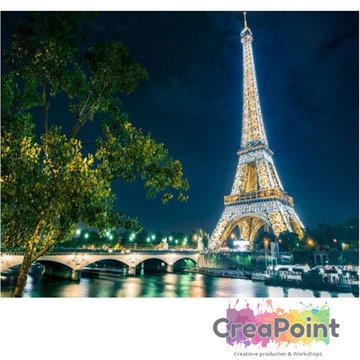Schilderen op nummer Eiffeltoren bij nacht 50 x 40 cm zonder frame