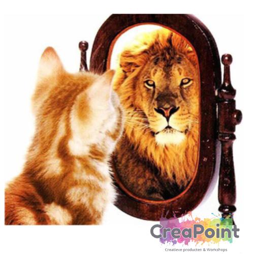 Full 5D Diamond Painting kleine kat wordt leeuw 30 x 34 cm