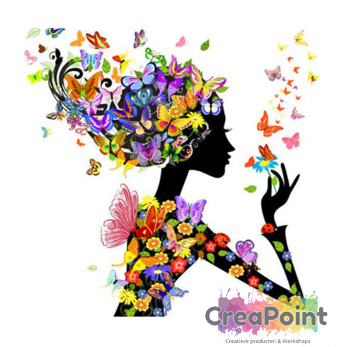 Full 5D Diamond Painting Vrouw bloemen 30 x 30 cm