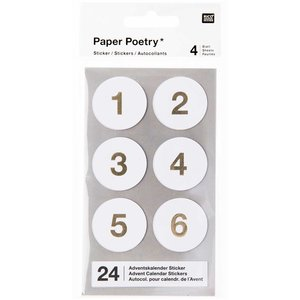Paper Poetry Adventskalender stickers Wit 24st.
