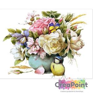 Full 5D Diamond Painting Vogel Pimpelmees bloemen 50 x 40 cm