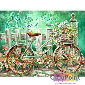 Full 5D Diamond Painting Fiets life is a beautiful ride 50 x 40 cm