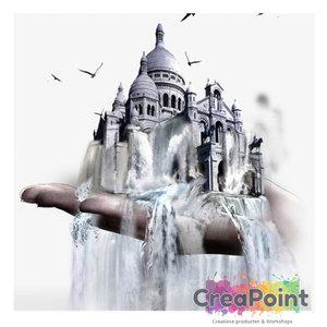 Full 5D Diamond Painting hand met kerk waterval 40 x 40 cm