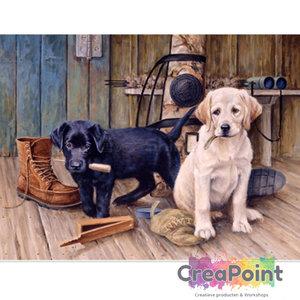 Full 5D Diamond Painting Honden retriever pups op veranda 50 x 40 cm