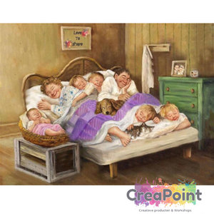 Full 5D Diamond Painting familie naar bed 2 50 x 40 cm