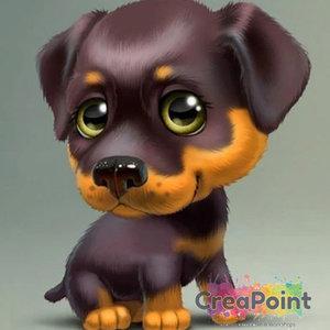 Full 5D Diamond Painting Puppy hond 5 Rottweiler 20 x 20 cm