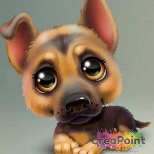 Full 5D Diamond Painting Puppy hond 8 Duitse Herder 20 x 20 cm