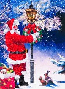 Giant Christmas Crystal Art Card Kit diamond painting Santa's Walk Kerstman 29 x 21 cm