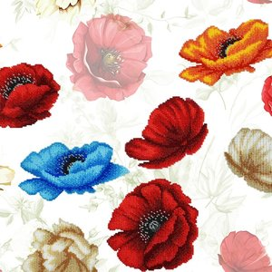 Miniart Crafts Poppy Flowers 40 x 40 cm borduren met kralen
