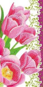 Crystal Card kit diamond painting Pink Tulips 11 x 22 cm