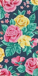 Crystal Card kit diamond painting Pretty Flowers 11 x 22 cm