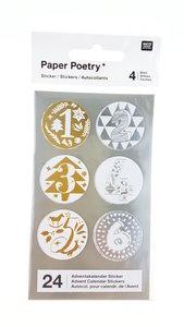 Paper Poetry Adventskalender stickers goud/zilver 24st.