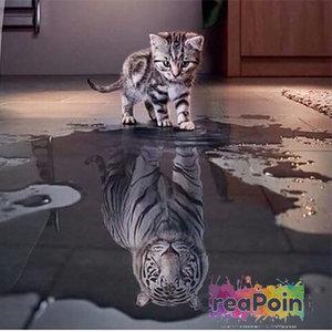 Full 5D Diamond Painting kleine kat grote tijger 30 x 40 cm