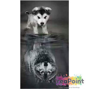 Full 5D Diamond Painting kleine pup wordt wolf 30 x 45 cm