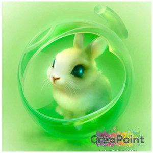 Full 5D Diamond Painting Konijntje groen 20 x 20 cm