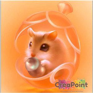 Full 5D Diamond Painting Hamster oranje 20 x 20 cm OP = OP