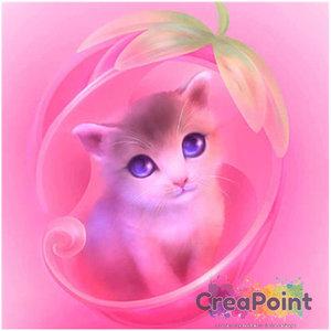 Full 5D Diamond Painting Poesje roze 20 x 20 cm