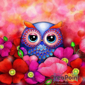 Full 5D Diamond Painting Uiltje bloemen rood 25 x 25 cm