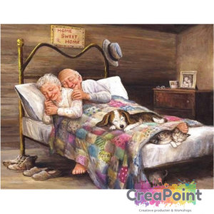 Full 5D Diamond Painting Opa en oma gaan slapen 50 x 40 cm