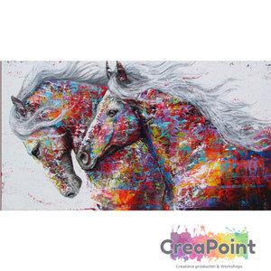 Full 5D Diamond Painting Paarden in kleuren kunstwerk 60 x 30 cm