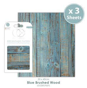 Decoupage papier Blue Brushed Wood - Craft Consortium