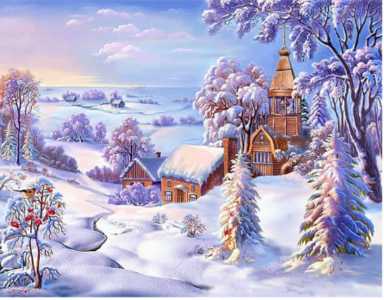 Full 5D Diamond Painting Winters landschap 50 x 40 cm