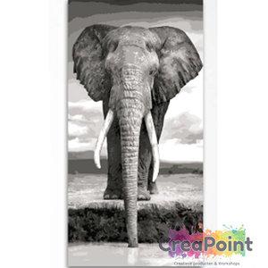 Schilderen op nummer Olifant drinkt 40 x 80 cm zonder frame