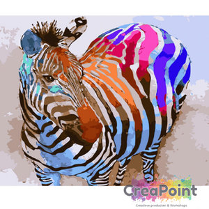 Schilderen op nummer Zebra in kleuren 50 x 40 cm zonder frame