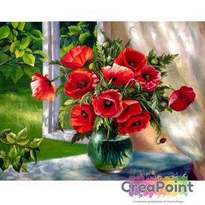Schilderen op nummer Rode klaprozen op vaas 40 x 50 cm zonder frame