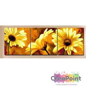 XL Schilderen op nummer 3 luik Gerbera  bloem 3 st. 40 x 50 cm zonder frame